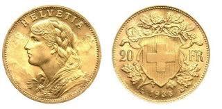BULLION SWITZERLAND VREINLI 20 FRANCS