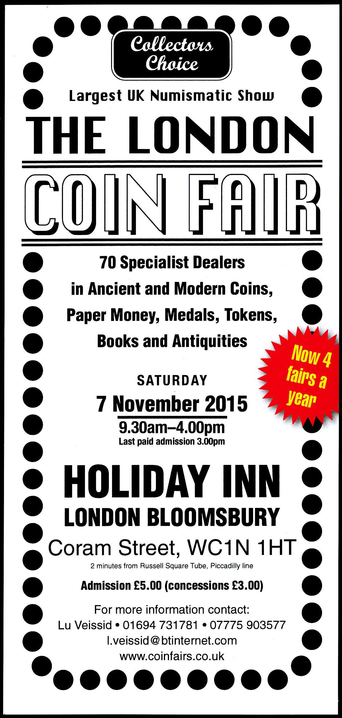 Numisor SA at The London Coin Fair 7th November
