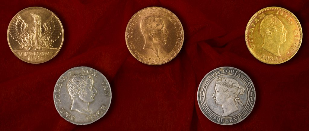 Coins auction March 2018: gold coin, silver coin